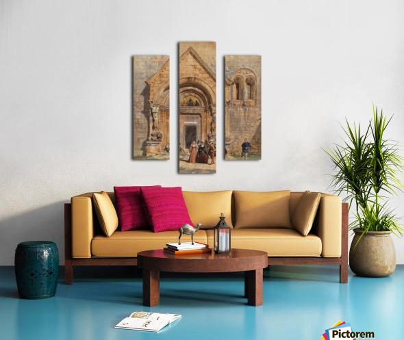 Kirchenportal und Personengruppe 1842 Canvas print
