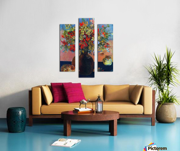 Flowers and Cats by Gauguin Canvas print