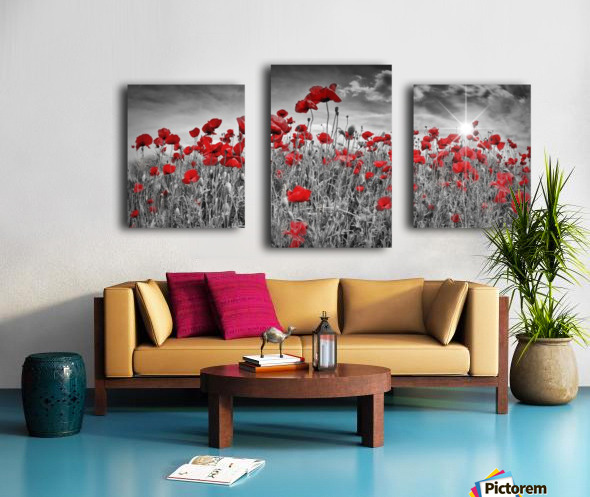 Idyllic Field of Poppies with Sun Canvas print