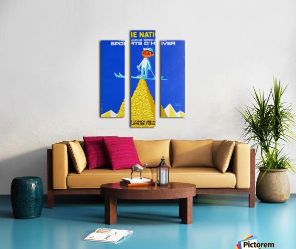 Loterie Nationale original vintage poster ski winter sport Impression sur toile