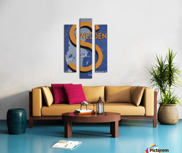 Stockholm Goteborg Malmo Sweden Thats the place vintage poster Canvas print