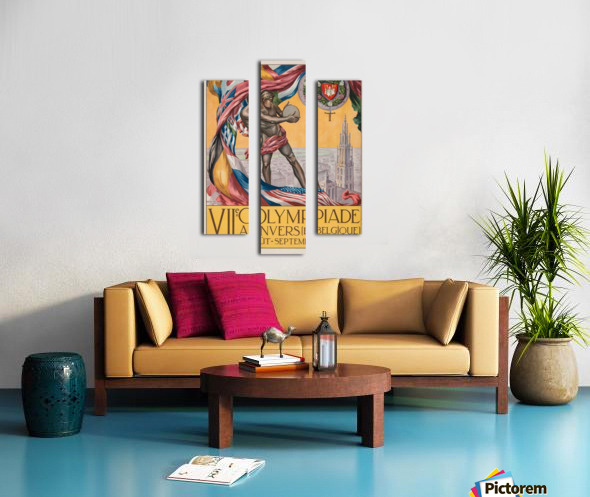 VII Olympiade, Anvers lithographic poster Canvas print