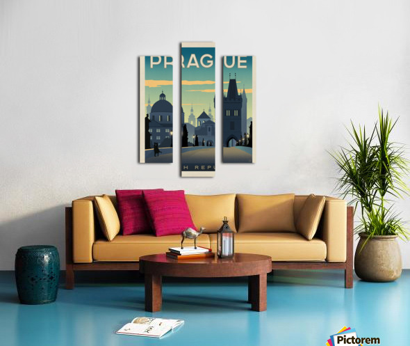 Prague vintage travel poster Impression sur toile