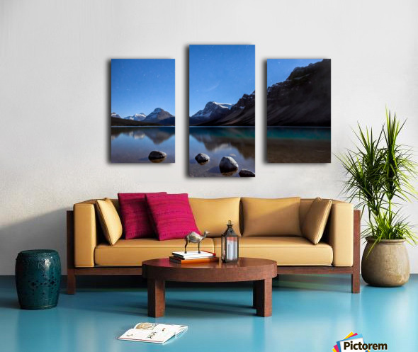 Bow lake under moonlight  Canvas print