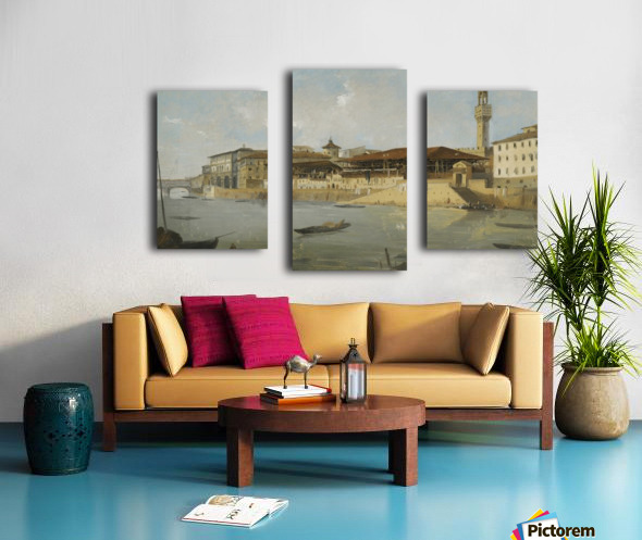 Florence, a view of the Arno with the Tiratoio delle Grazie Canvas print