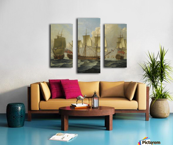 An East Indiamam in three pasitions Canvas print
