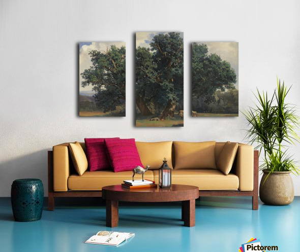 Painting of a big green tree Canvas print