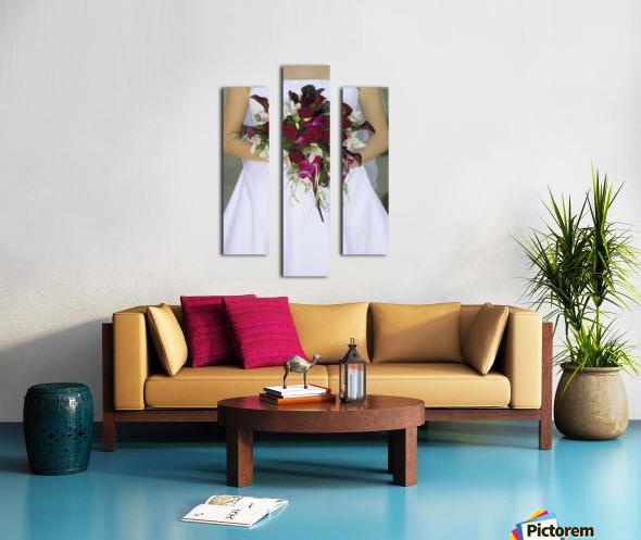Bride's Bouquet And Wedding Dress Canvas print