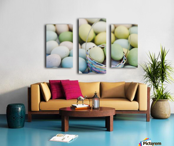 Easter Eggs And Basket Canvas print