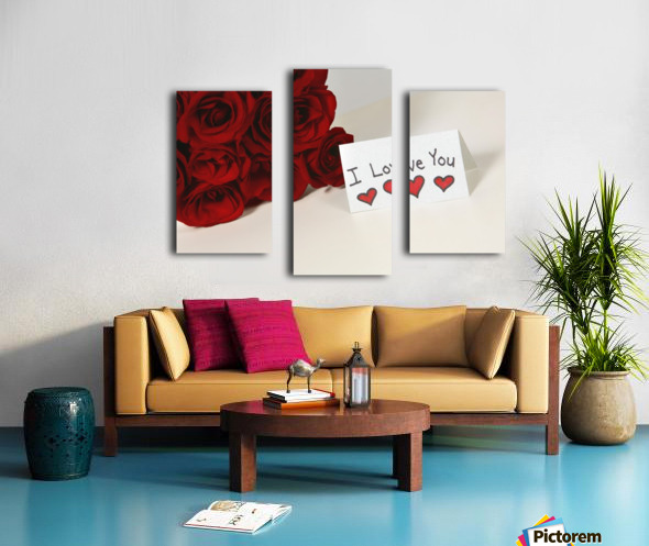 I Love You Card Beside Roses Canvas print