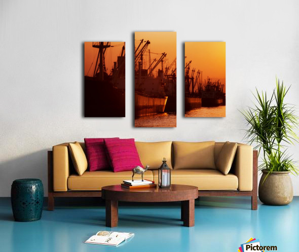 Shipping Freighters At Sunset Canvas print