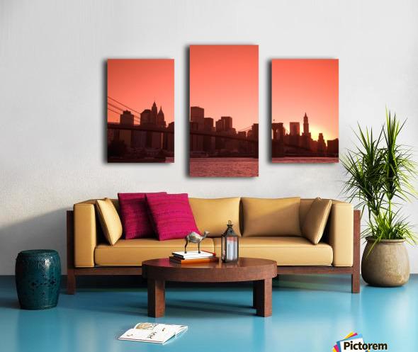 Lower Manhattan Skyline Viewed From Brooklyn Bridge Park, Brooklyn, New York City, New York, Usa Canvas print