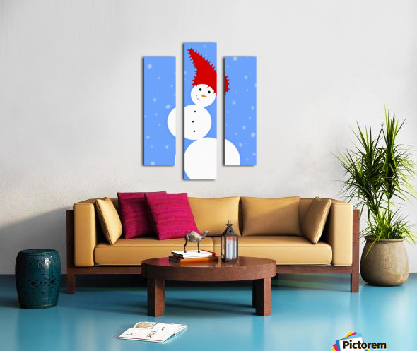 Illustration Of A Snowman Canvas print