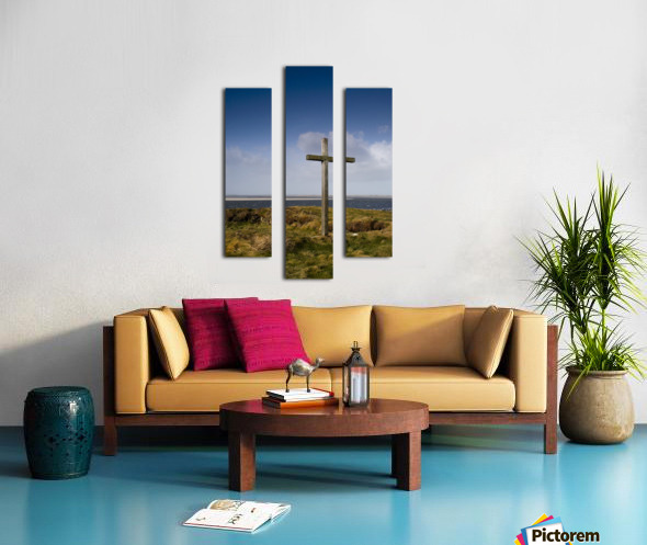 Grave Site Marked By A Cross On A Hill Canvas print