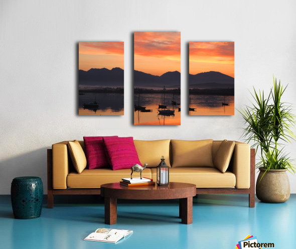 Sunrise At Roundstone Harbour With 12 Bens, Galway, Ireland Canvas print