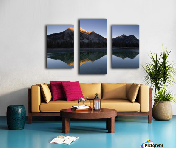 Mirror Image Of A Mountain In Water, Mount Lorette, Kananaskis, Alberta, Canada Canvas print