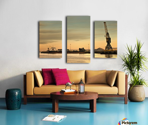 Tyne And Wear, Sunderland, England; Crane At A Shipping Dock Canvas print