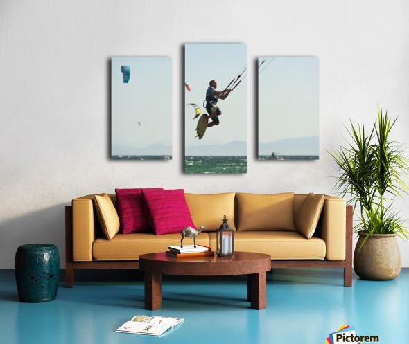 Kitesurfing; Tarifa, Cadiz, Andalusia, Spain Canvas print