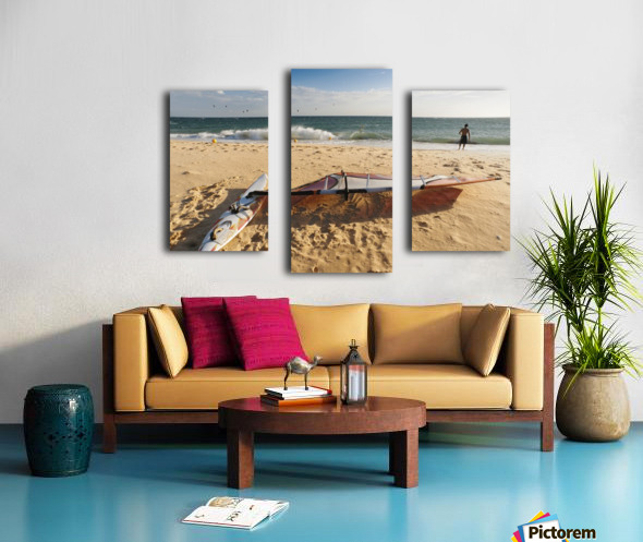A Man On The Beach With His Windsurfing Board; Tarifa, Cadiz, Andalusia, Spain Canvas print