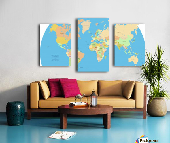 Vector world map worldflag canvas vector world map canvas print gumiabroncs Image collections