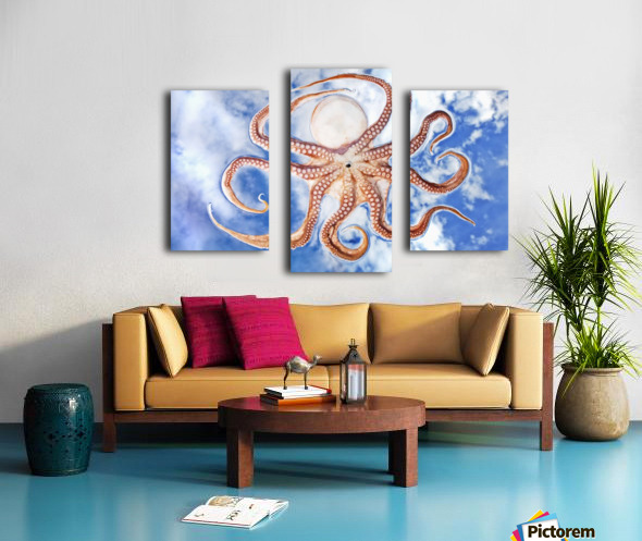 An octopus with blue sky and cloud in the background Canvas print