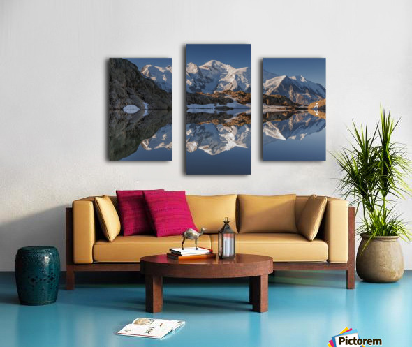 White in Black (Mont Blanc in Lac Noir), French Alps Canvas print