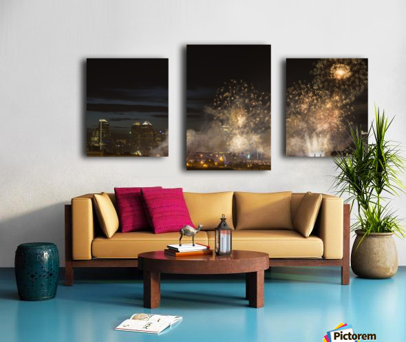 Fireworks in front of modern city skyline; Calgary, Alberta, Canada Canvas print