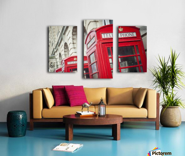 Telephone boxes in a row; Blackpool, Lancashire, England Impression sur toile