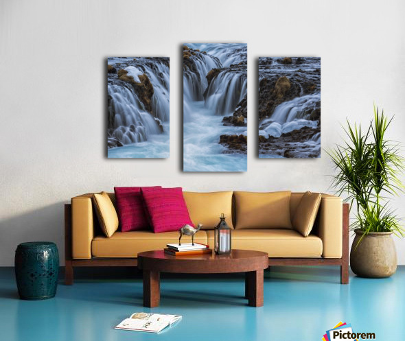 Turquoise water flowing over rocks into a river; Bruarfoss, Iceland Canvas print
