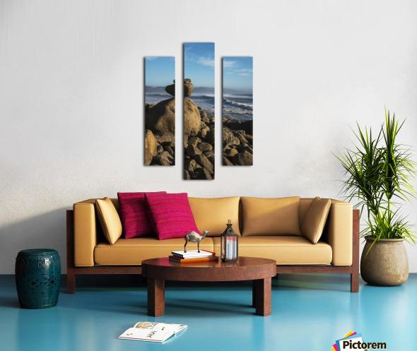Stones have been balanced on Neahkahnie Beach; Manzanita, Oregon, United States of America Canvas print