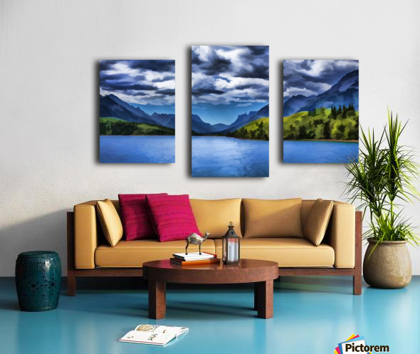 painting of a lake and mountains in waterton lakes national park