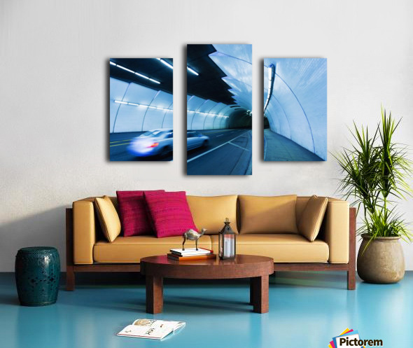 Urban Tunnel, Car moving with Motion Blur Canvas print