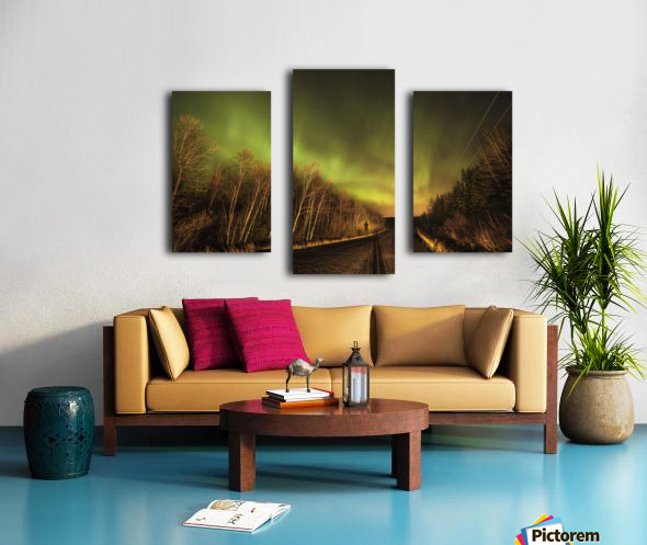 Aurora borealis over road; Thunder Bay, Ontario, Canada Canvas print