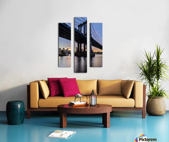 Manhattan Bridge and NYC skyline at sunset, Brooklyn Bridge Park; Brooklyn, New York, United States of America Canvas print
