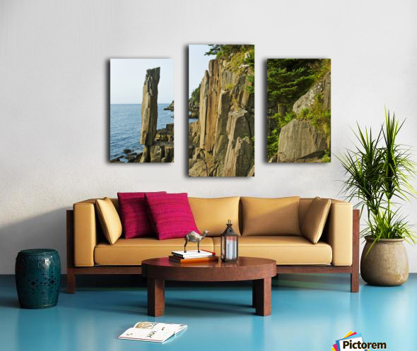 Balancing rock, basalt rock cliffs, Bay of Fundy; Long Island, Nova Scotia, Canada Canvas print
