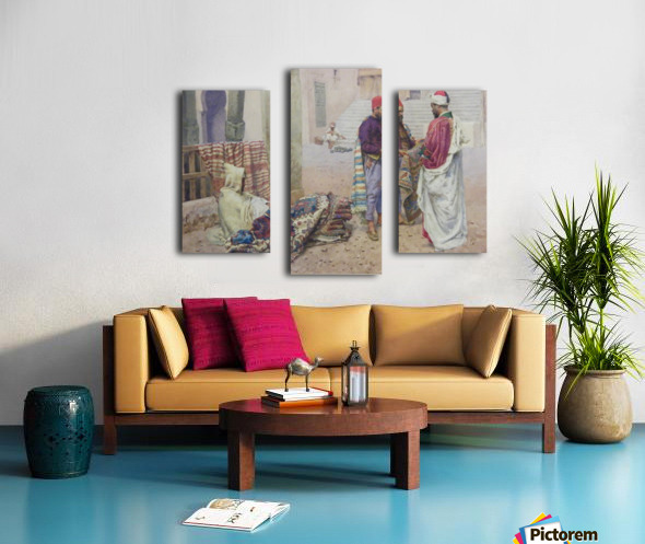 Selling carpets in the market Canvas print