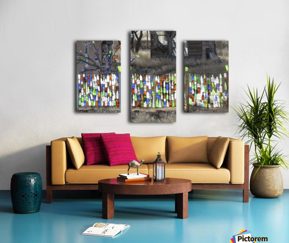 Turquoise Trail - Glass bottles in Golden 2VP Canvas print