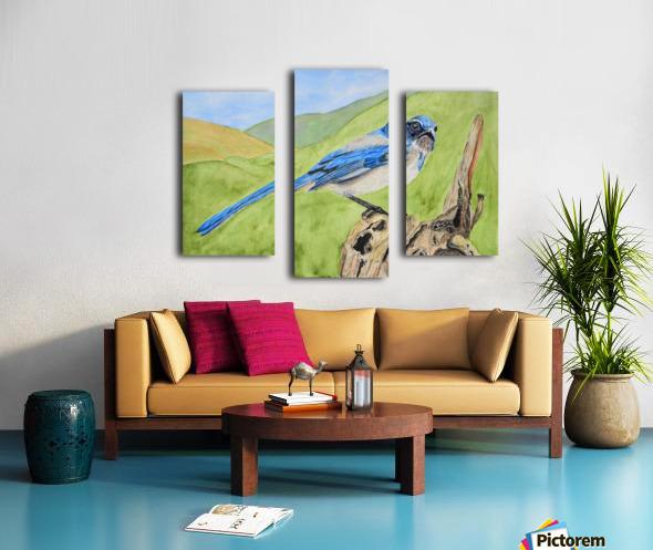 Blue Scrub Jay On Dead Tree Canvas print