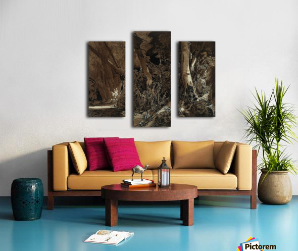 Forest landscape with flowing water and two hunters Impression sur toile