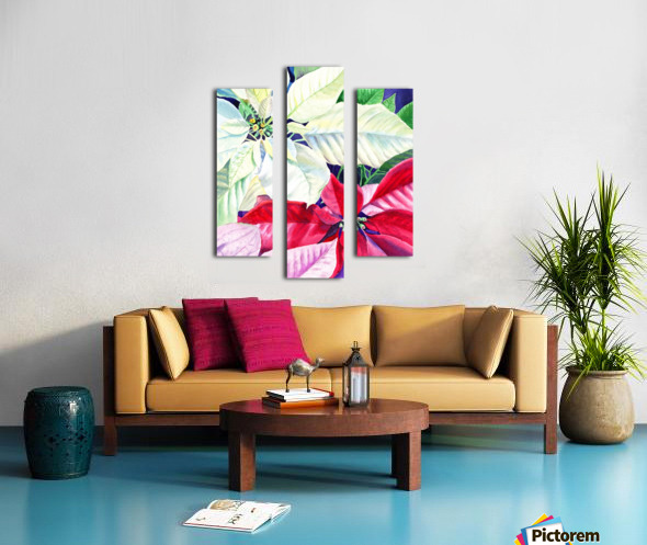 White Red Pink Poinsettia Canvas print