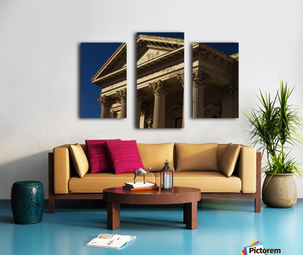 Old Building with Corinthian Pillars and Blue Sky Canvas print