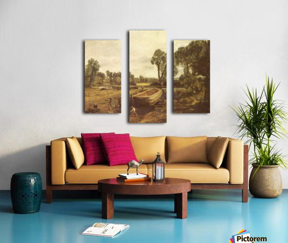 Landscape with a boat and a tree Canvas print