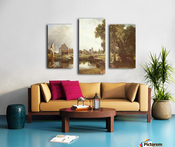 A pond in front of a house Canvas print