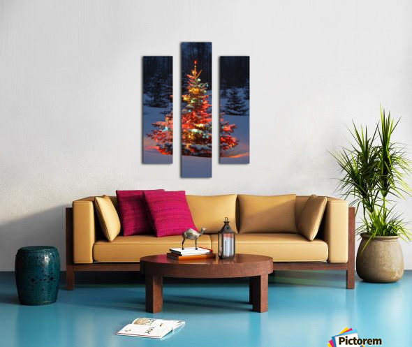Christmas Tree With Lights Outdoors In The Forest Canvas print