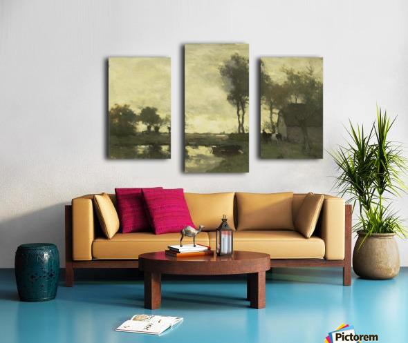 Landschap met boerderij bij een plas Canvas print