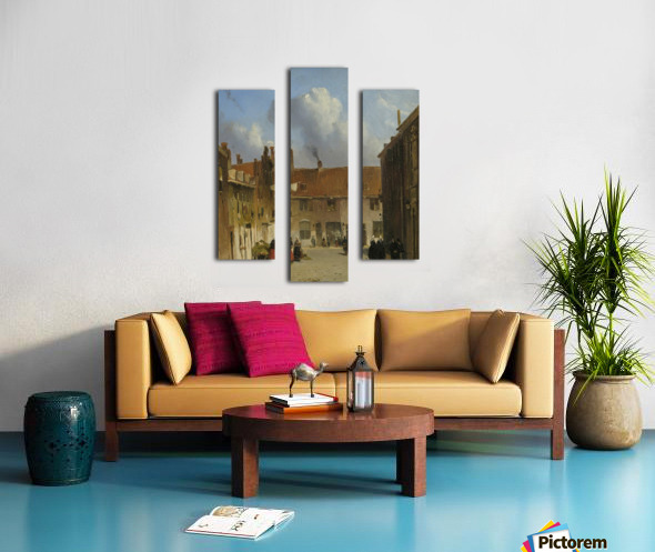 Cityscape with many figures Canvas print