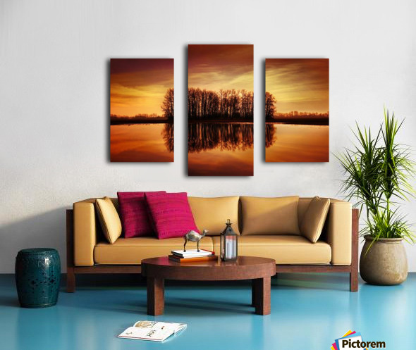 Silhouetted Trees Reflected On Water Canvas print