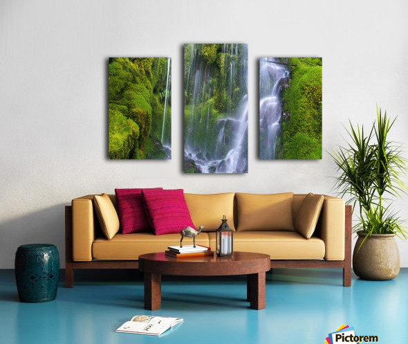 Waterfall Over Moss-Covered Rocks Canvas print