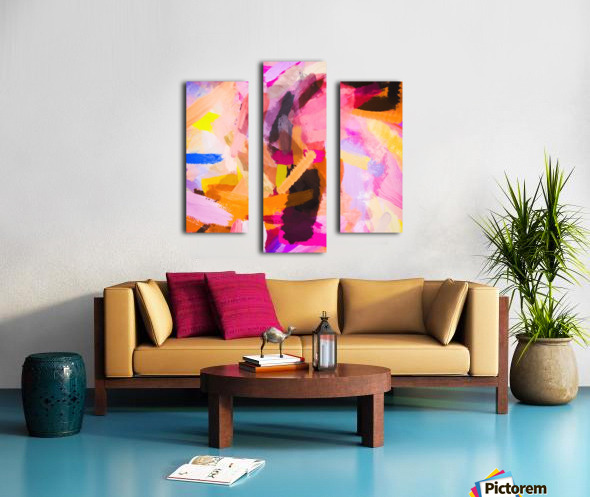 pink purple yellow brown painting texture abstract background Canvas print