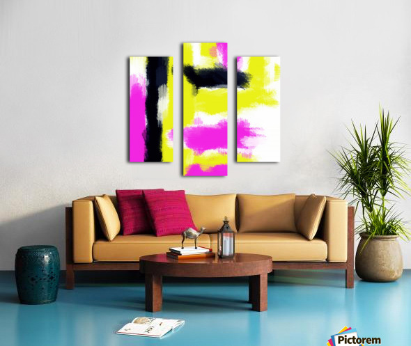 pink yellow and black painting abstract with white background Canvas print